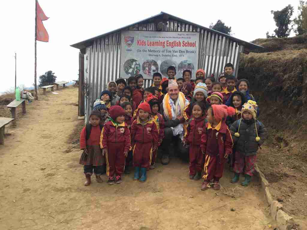 2018 Dion with children for school Sailung Nepal