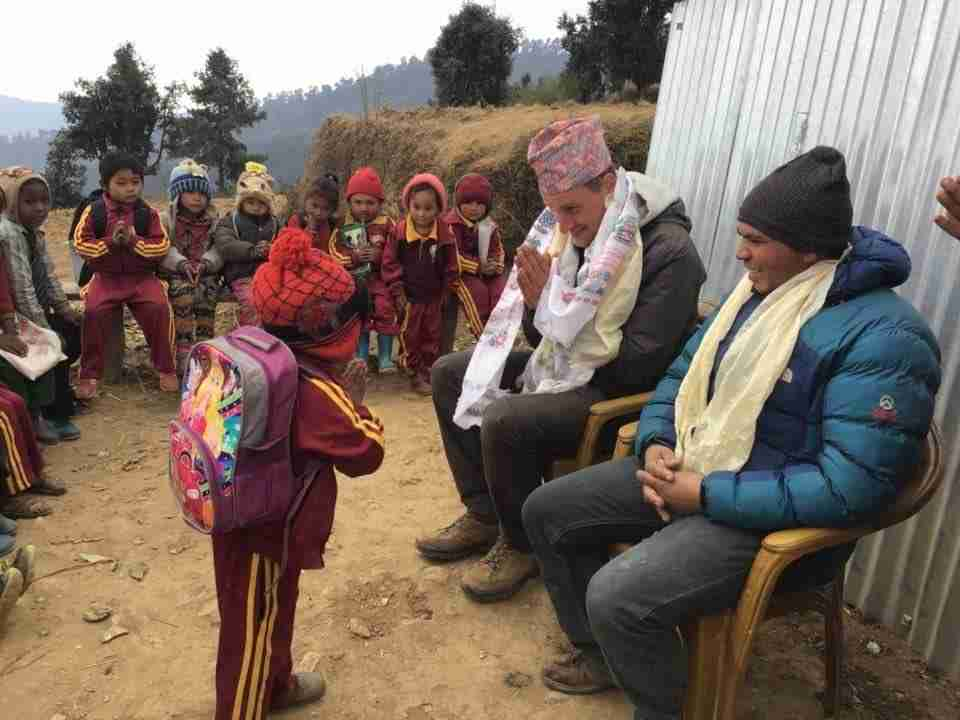 Dion with Makar for school in Sailung Nepal